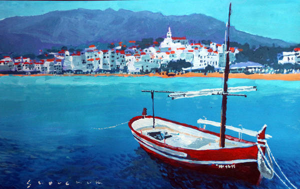 Wall Art - Painting - Spain Series 08 Cadaques Red Boat by Yuriy Shevchuk