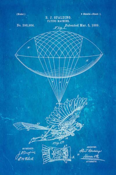 Monk Photograph - Spalding Flying Machine Patent Art 1889 Blueprint by Ian Monk