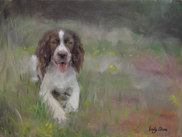 Field Spaniel Painting - Spaniel At Rest by Emily Olson