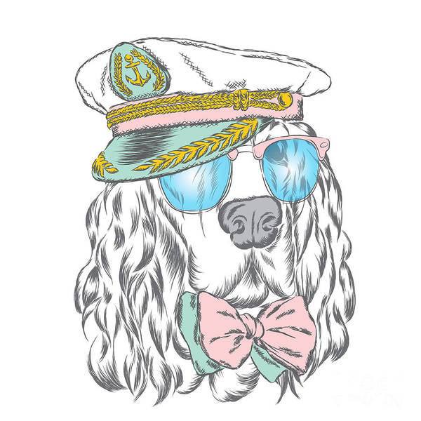 Clothing Wall Art - Digital Art - Spaniel In The Captains Cap. Vector by Vitaly Grin
