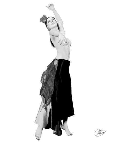 Female Nude Digital Art - Spanish Cabaret Dancer by Quim Abella