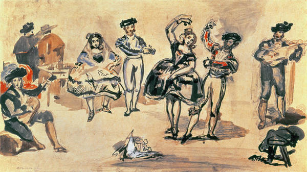 Impressionist Photograph - Spanish Dancers, 1862 Wc, Pencil And Ink by Edouard Manet