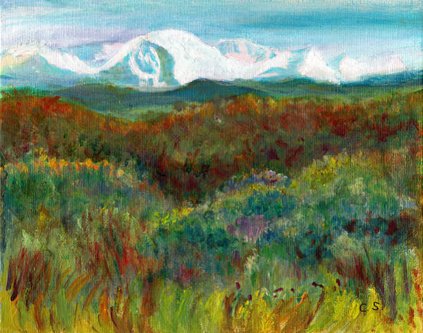 Painting - Spanish Peaks Evening by C Sitton