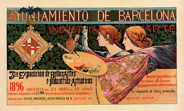 Wall Art - Painting - Spanish Poster For La Triosième Exposition De Barcelone by Liszt Collection