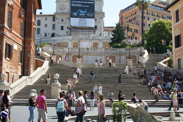Spanish Steps With People Art Print by Pejft