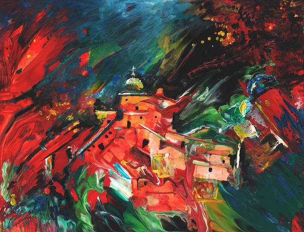 Painting - Spanish Village In Fire by Miki De Goodaboom
