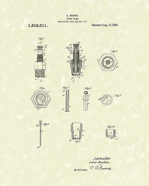 Wall Art - Drawing - Spark Plug 1919 Patent Art by Prior Art Design