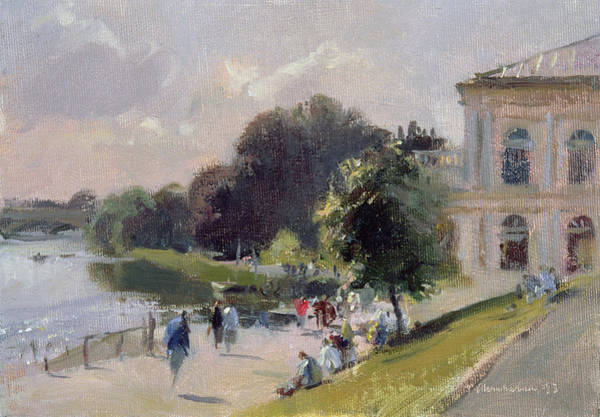 Promenade Photograph - Sparkling Afternoon, Richmond, 1993 Oil On Canvas by Trevor Chamberlain