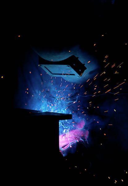 Protective Clothing Photograph - Sparks Flying From An Argon Welder At Work by Chris Knapton/science Photo Library