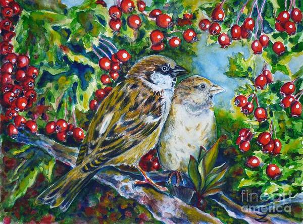 Nature Knows Best Wall Art - Painting - Sparrows On The Hawthorn by Zaira Dzhaubaeva