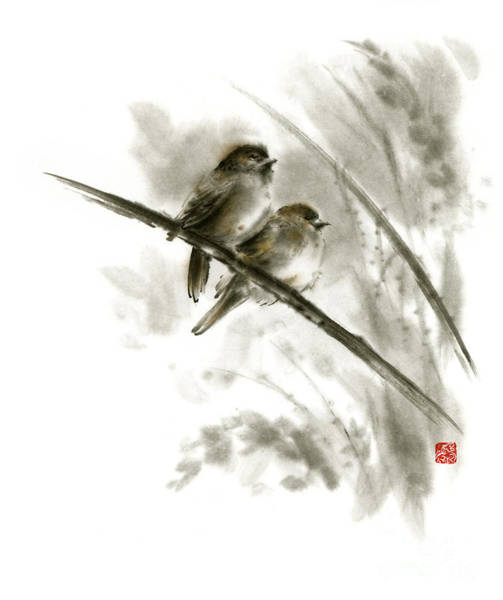 Flower Shop Painting - Sparrows Sumi-e Original Ink Painting Artwork by Mariusz Szmerdt