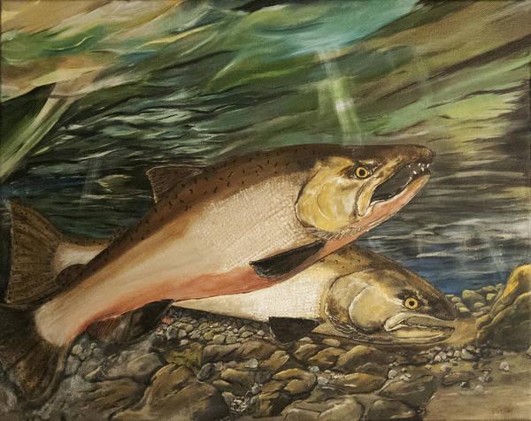 Spawn Painting - Spawning Salmon by Sara Stevenson