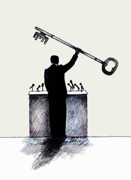 Public Speaker Photograph - Speaker At Podium Holding Large Key by Ikon Ikon Images