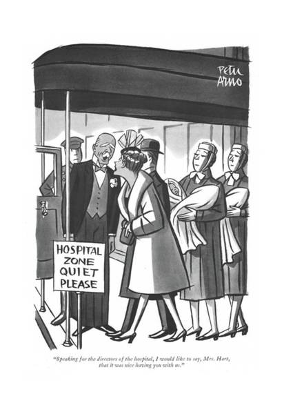 Medical Examination Drawing - Speaking For The Directors Of The Hospital by Peter Arno