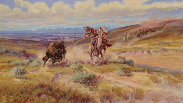 Wall Art - Painting - Spearing A Buffalo by Charles Marion Russell