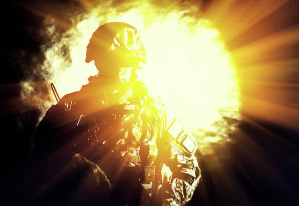 Infantryman Wall Art - Photograph - Special Forces Soldier With Assault by Oleg Zabielin