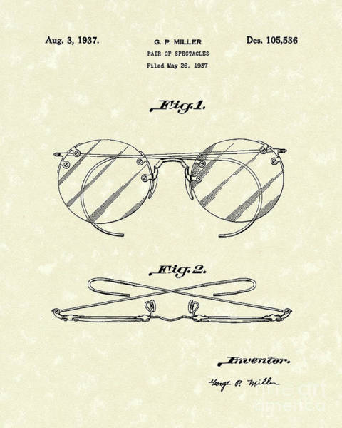 Drawing - Spectacles 1937 Patent Art by Prior Art Design