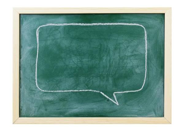 Speech Bubble Wall Art - Photograph - Speech Bubble On Blackboard by Wladimir Bulgar/science Photo Library