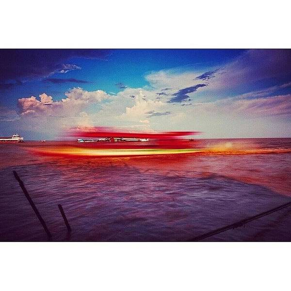 Speed Boat Passing The Floating Village Art Print