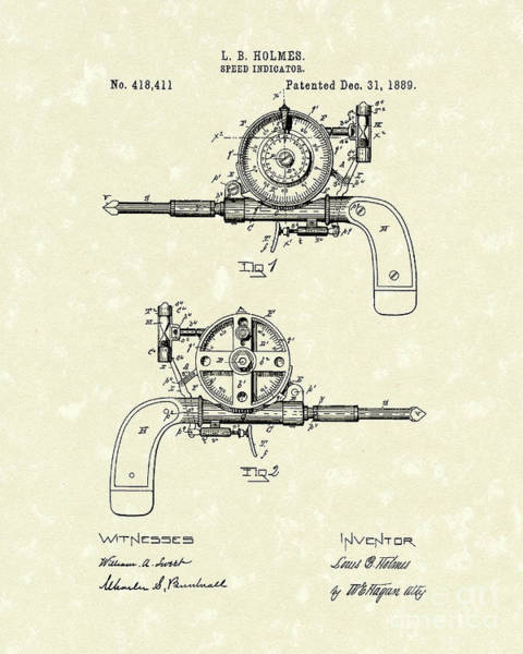 Drawing - Speed Indicator 1889 Patent Art by Prior Art Design