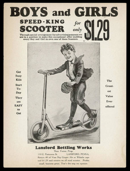Steel Drawing - 'speed-king' All-steel  Scooter by Mary Evans Picture Library