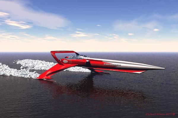Speed Boat Digital Art - Speed  Racer by Michael Wimer