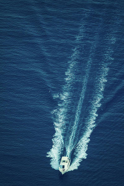 Motorboat Photograph - Speeding Boat Aerial View by Thepalmer