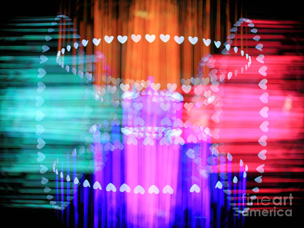 Manual Focus Wall Art - Photograph - Speeding Hearts Abstract Colorful Light Trails by Beverly Claire Kaiya
