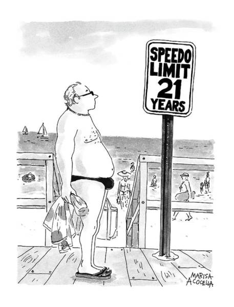 Wall Art - Drawing - Speedo Limit  21 Years by Marisa Acocella Marchetto