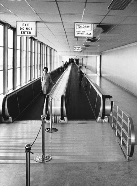 Thoroughfare Photograph - Speedwalk Conveyors At Sfo by Underwood Archives