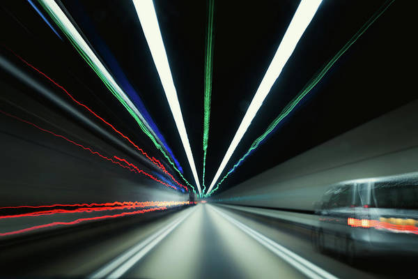 Driving Photograph - Speedy Car Driving In Tunnel by D3sign