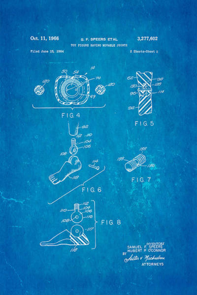 Gi Photograph - Speers G I Joe Action Man 2 Patent Art 1966 Blueprint by Ian Monk