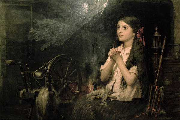 Fireplace Painting - Spellbound by Frederick George Cotman