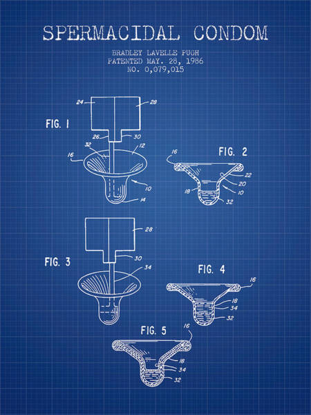 Pregnancy Digital Art - Spermacidal Condom Patent From 1986 - Blueprint by Aged Pixel