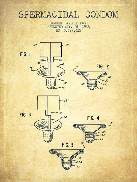 Pregnancy Digital Art - Spermacidal Condom Patent From 1986 - Vintage by Aged Pixel