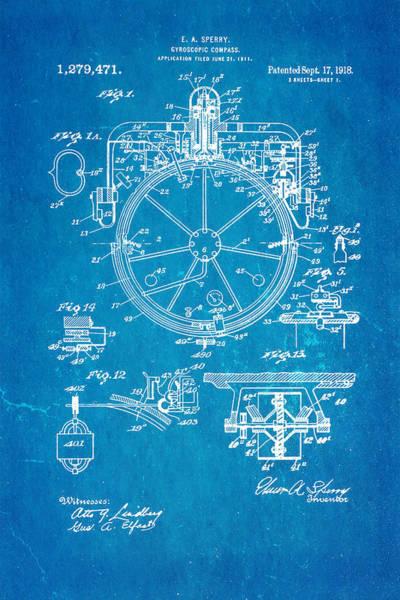 Seamen Photograph - Sperry Gyroscopic Compass Patent Art 1918 Blueprint by Ian Monk