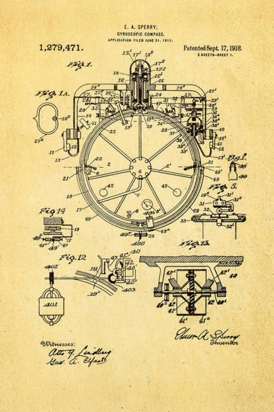 Monk Photograph - Sperry Gyroscopic Compass Patent Art 1918 by Ian Monk