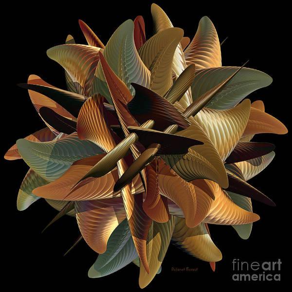 Gold Leaves Digital Art - Sphere Of Green And Gold by Deborah Benoit