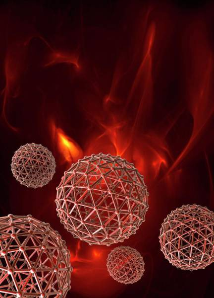 Fire Ball Wall Art - Photograph - Spheres On Red Background by Victor Habbick Visions