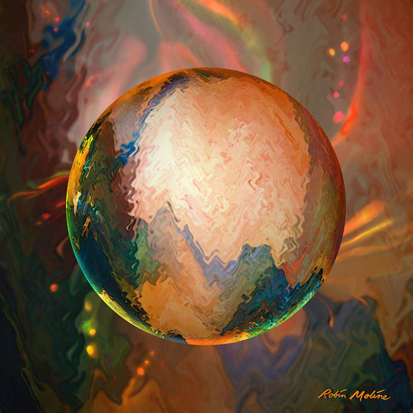 New Age Wall Art - Digital Art - Sphering Lunar Vibrations by Robin Moline