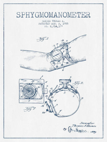 Device Digital Art - Sphygmomanometer Patent Drawing From 1955 - Blue Ink by Aged Pixel