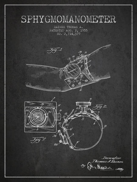 Device Digital Art - Sphygmomanometer Patent Drawing From 1955 - Dark by Aged Pixel