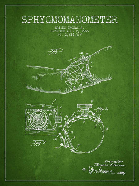 Device Digital Art - Sphygmomanometer Patent Drawing From 1955 - Green by Aged Pixel