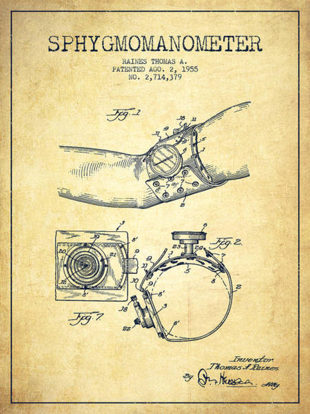 Device Digital Art - Sphygmomanometer Patent Drawing From 1955 - Vintage by Aged Pixel