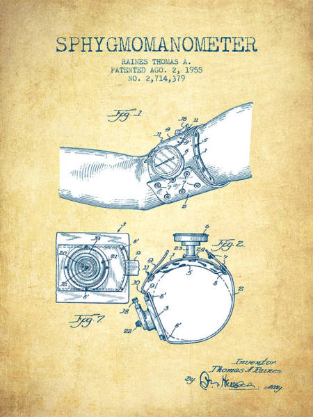 Device Digital Art - Sphygmomanometer Patent Drawing From 1955 - Vintage Paper by Aged Pixel