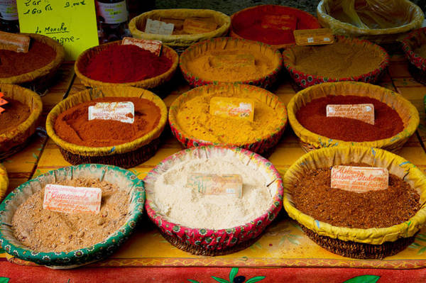 Lourmarin Photograph - Spices For Sale At A Market Stall by Panoramic Images