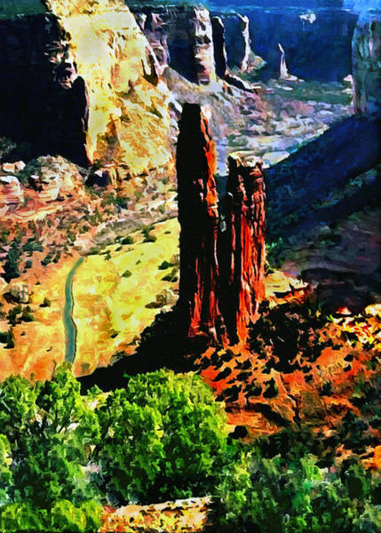 Painting - Spider Rock Canyon Dechelly  by Bob and Nadine Johnston