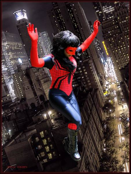 Photograph - Spider Gal Leaping by Jon Volden