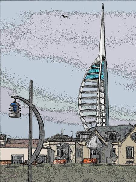 Victorian House Digital Art - Spinnaker Tower  by Flow Fitzgerald