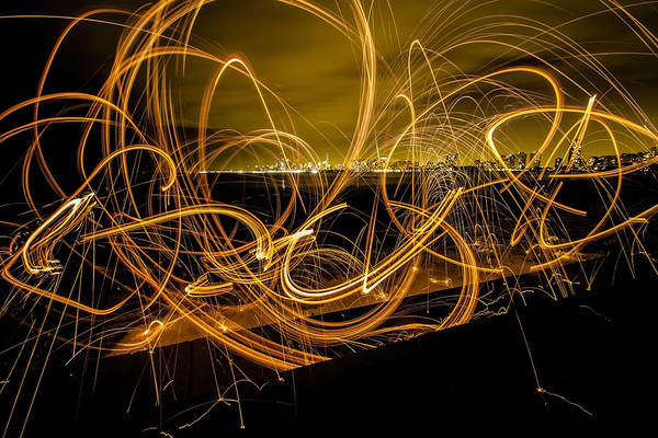 Photograph - spinning light painting with Chicago Skyline by Sven Brogren